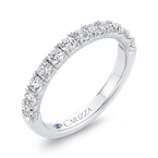 Carizza 14K White Gold Half-Eternity Round Diamond Wedding Band