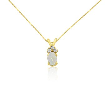 14K Yellow Gold Oval Opal Pendant with Diamonds