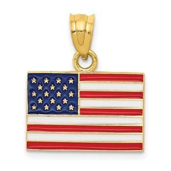 14k Enameled United States Flag Pendant
