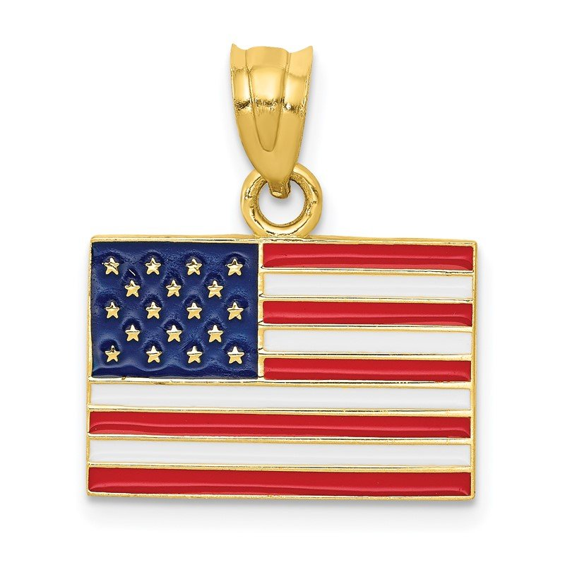 Quality Gold 14k Enameled United States Flag Pendant