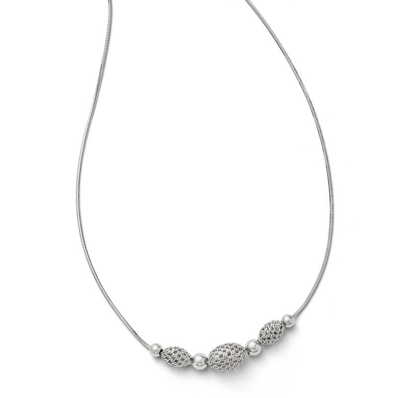 Leslie's Leslies Sterling Silver w/ 2 ext. Beaded Necklace