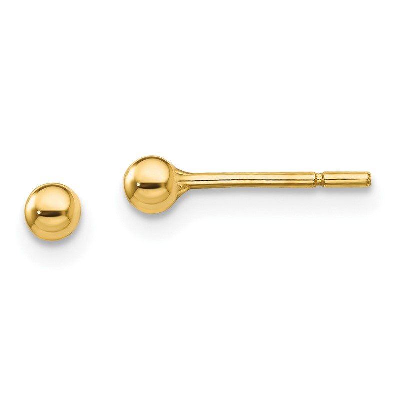 Quality Gold Sterling Silver Gold-Tone Polished 3mm Ball Post Earrings