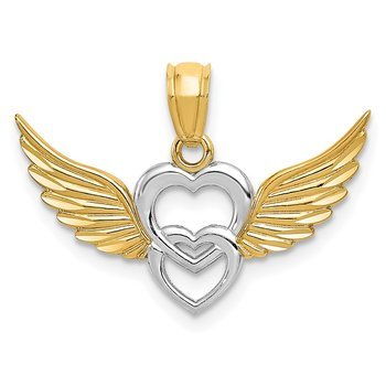 14K and White Rhodium Polished Hearts w/ Wings Pendant