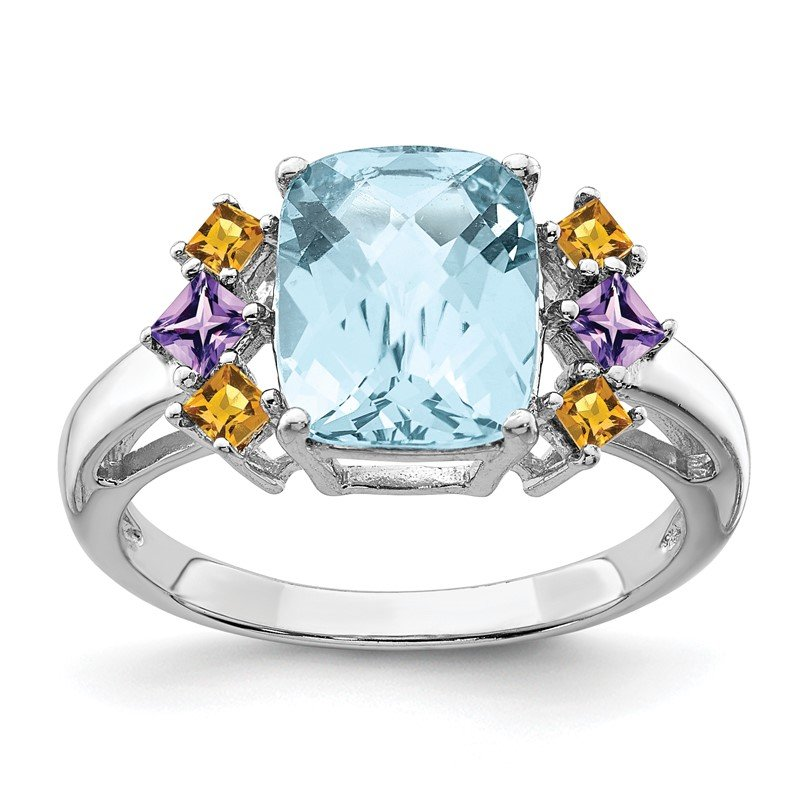 Quality Gold Sterling Silver Rhodium Light Swiss Blue, Amethyst & Citrine Ring