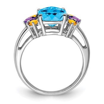 Sterling Silver Rhodium Light Swiss Blue, Amethyst & Citrine Ring