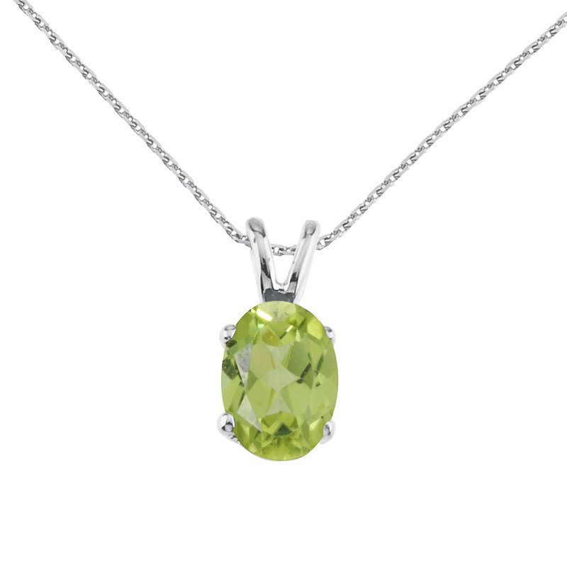 14k White Gold Oval Large 6x8 mm Peridot Pendant