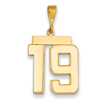 14k Large Polished Number 19 Charm