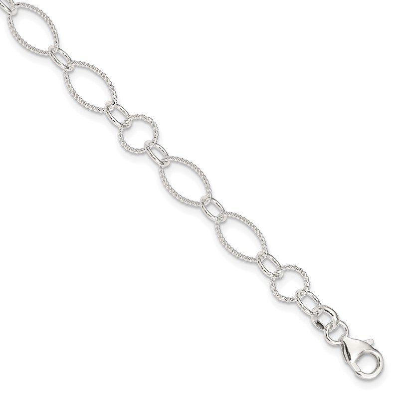 Quality Gold Sterling Silver Fancy Link Anklet