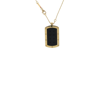 18Kt Gold Long Dog Tag Pendant