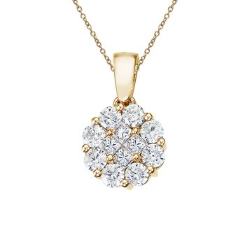 14K Yellow Gold 1 Ct Diamond Clustaire Pendant