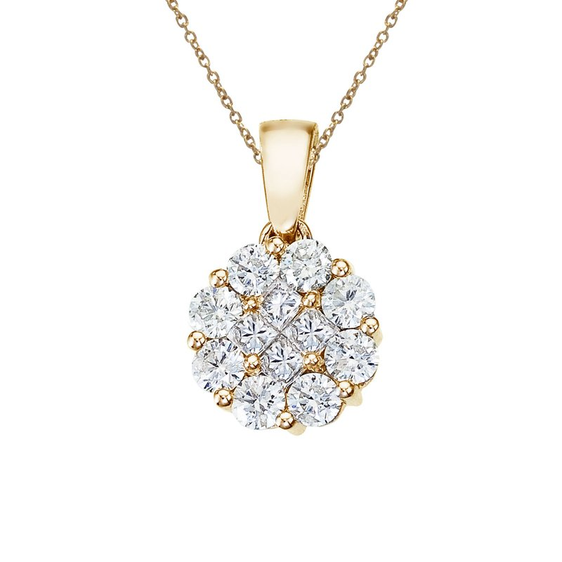 Color Merchants 14K Yellow Gold 1 Ct Diamond Clustaire Pendant