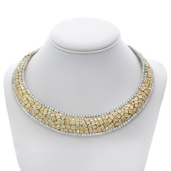 Yellow Diamond Cluster Necklace