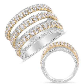 White & Yellow Gold Pave Diamond Ring