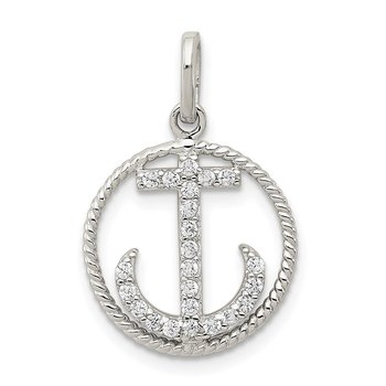 Sterling Silver Polished CZ Anchor Pendant