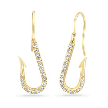14K FISH HOOK EARRINGS WITH 36 DIAMONDS 0.30CT, HOOK 17.5MM LONG BY 8.95MM WIDE, EAR CLIP  13MM LONG