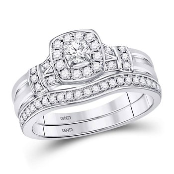 14kt White Gold Womens Round Diamond Square Bridal Wedding Engagement Ring Band Set 1/2 Cttw