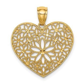14K Polished Floral Heart Pendant