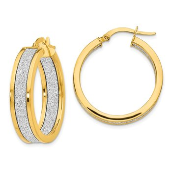 Leslie's 14K Polished Glimmer Infused Hoop Earrings