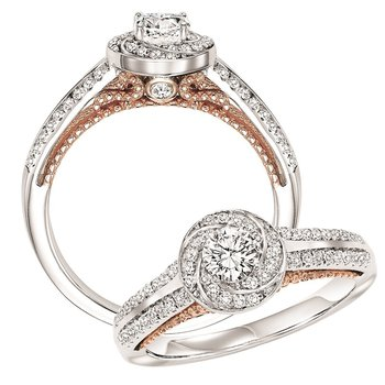 14K Diamond Engagement Ring 1/4 ctw with 1/4 ct Center