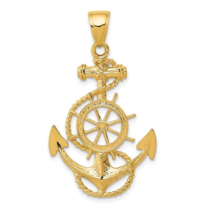 Quality Gold 14k Large Anchor w/Wheel Pendant