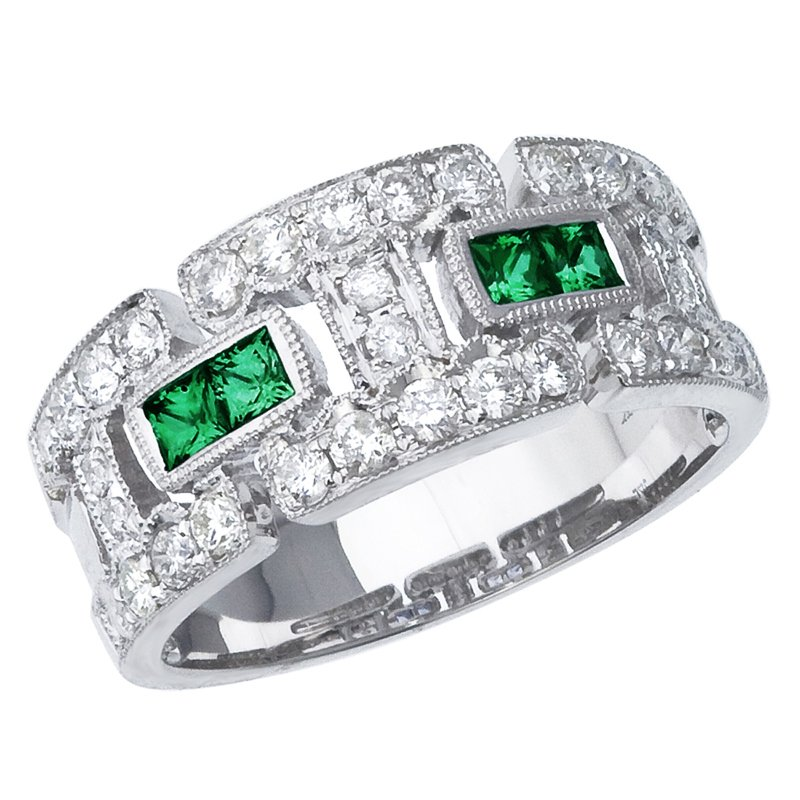 Color Merchants 14k White Gold Emerald and Diamond Geometric Band