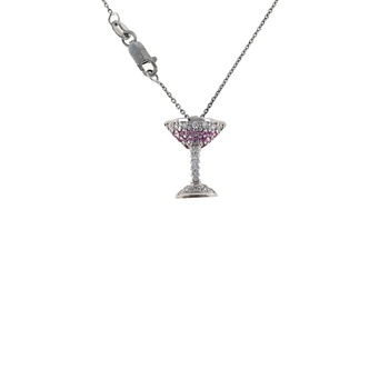 18Kt Gold Martini Pendant With Pink Sapphires And Diamonds