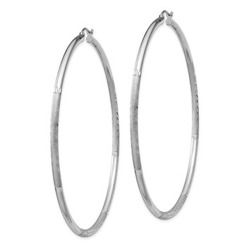 Sterling Silver Rhodium-plated 2.5mm Satin D/C Hoop Earrings