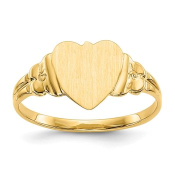 14k 8.0x8.5mm Closed Back Children's Heart Signet Ring