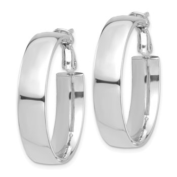 14k White Gold High Polished 7mm Omega Back Hoop Earrings