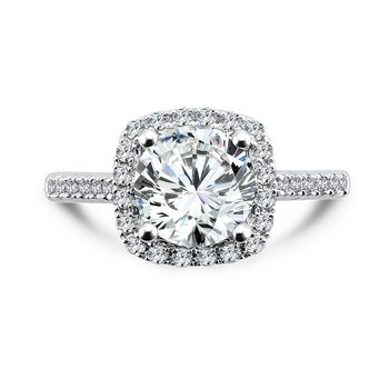 Cushion-Shape Halo Engagement Ring with Diamond Side Stones in 14K White Gold with Platinum Head (2ct. tw.)