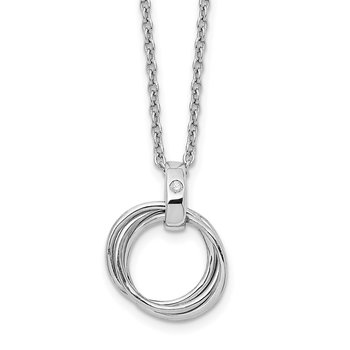 SS White Ice Three Ring .01ct Diamond Necklace