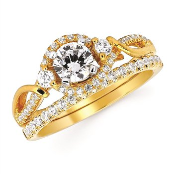 Twisted 3 Stone Engagement Ring