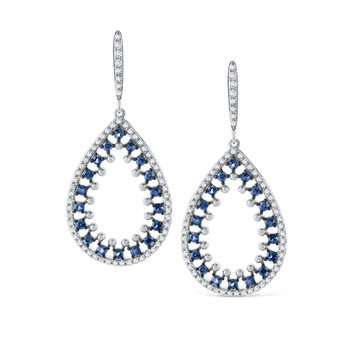 Blue Sapphire & Diamond Teardrop Earrings Set in 14 Kt. Gold