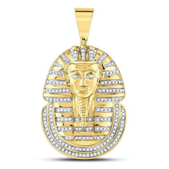 10kt Yellow Gold Mens Round Diamond Pharaoh Face Charm Pendant 5/8 Cttw