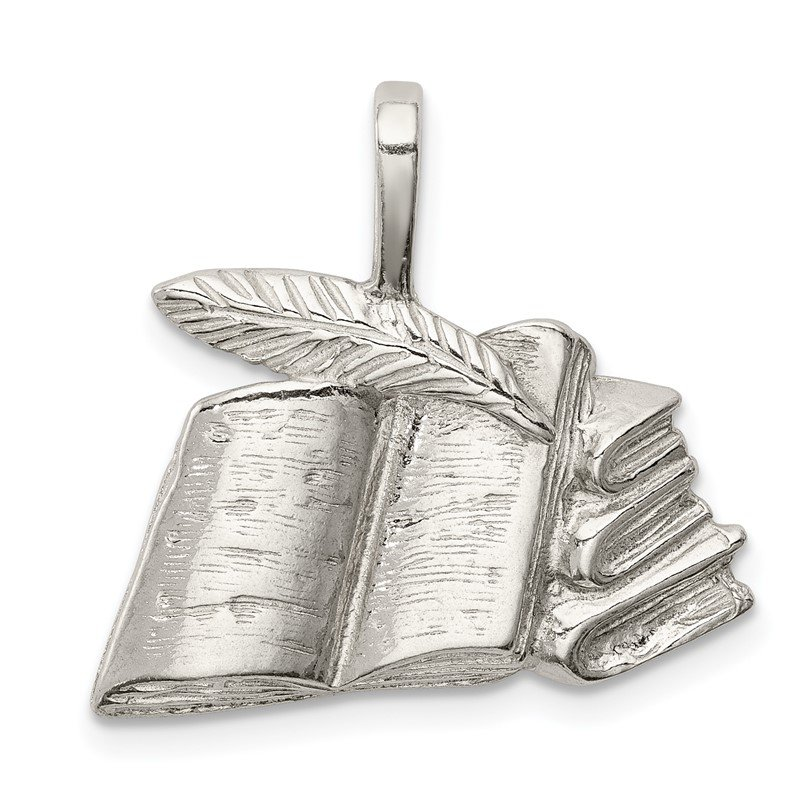 Quality Gold Sterling Silver Books with Quill Charm