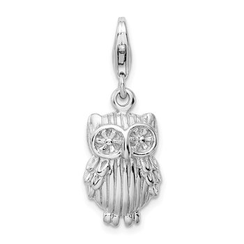 Sterling Silver Rhodium-plate w/Lobster Clasp Owl Charm