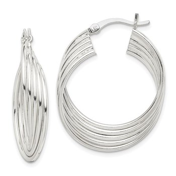 Sterling Silver Polished Twisted Multi-Hoop Earrings
