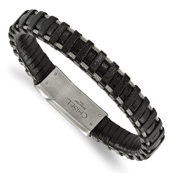 Stainless Steel Brushed Cable and Black Leather 8.5in Bracelet
