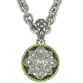 18kt and Sterling Silver Round Antique Flower Diamond Pendant with Chain