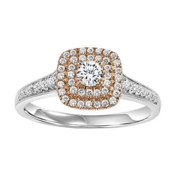 14K Diamond Engagement Ring 3/8 ctw Complete