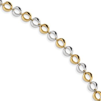14k Two-tone Polished Fancy Circles Bracelet