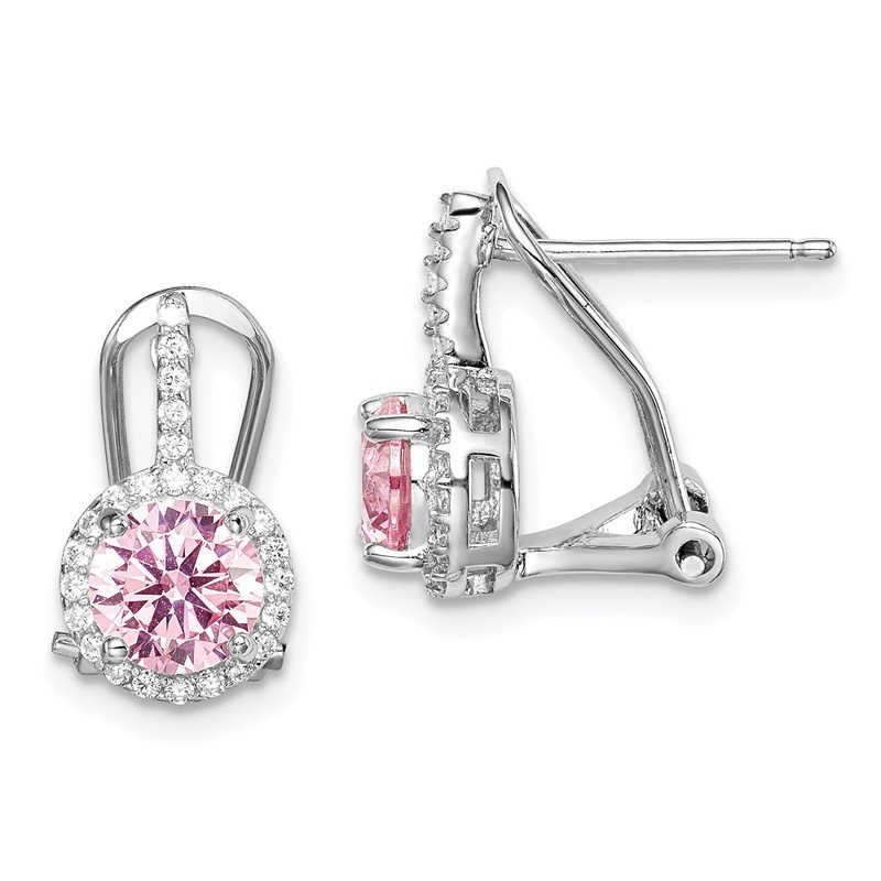 Quality Gold Sterling Silver Rhodium-plated Pink/White CZ Omega Back Earrings