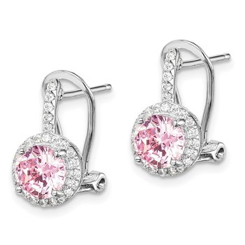 Sterling Silver Rhodium-plated Pink/White CZ Omega Back Earrings