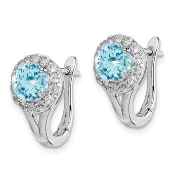 Sterling Silver Rhodium Wht Topaz & Lght Swiss Blue Topaz Hngd Earrings