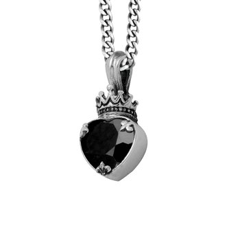Large Black Cz Heart Pendant With Black Onyx (Pd18Qb) On 18' Curb Link Chain