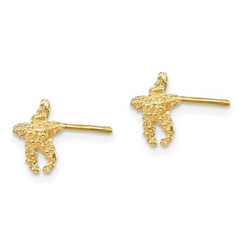14K Polished and Textured Starfish Post Earrings