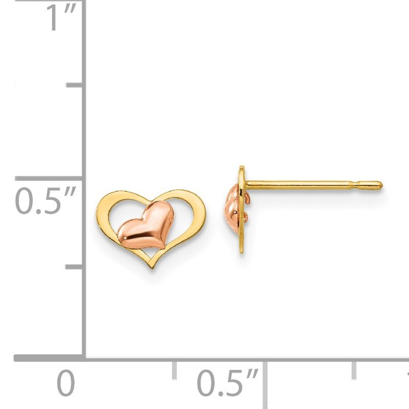 Quality Gold 14k Yellow & Rose Gold Madi K Children's Heart Post Earrings