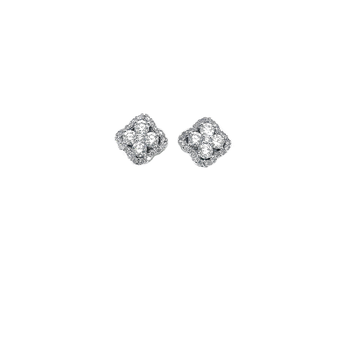 18KT GOLD DIAMOND FLOWER CLUSTER EARRINGS