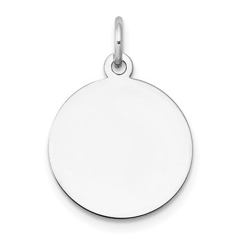 14k White Gold Plain .013 Gauge Circular Engravable Disc Charm