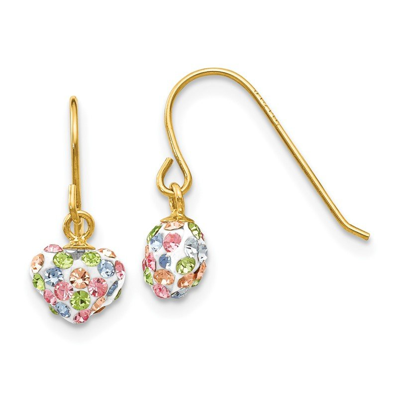 Quality Gold 14k Pastel Multi-colored Crystal Heart Dangle Earrings